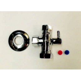 ANGLED BALL VALVE WITH TWO OUTLETS C/W FILTERS AND CHECK MECHANISM, HEAVY PATTERN, VS-3104-F