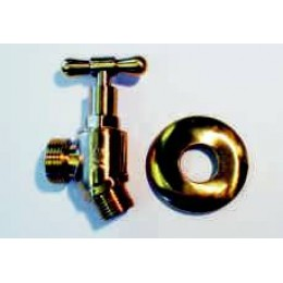 HOSE TAP, MALE/MALE, POLISHED BRASS FINISH WITH BRASS COVER FLANGE, VS-1903-MP