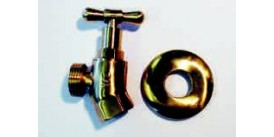 HOSE TAP, FEMALE/MALE, POLISHED BRASS FINISH WITH COVER FLANGE, VS-1904-FP