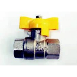 "GAS BALL VALVE, FEMALE/FEMALE, 3/8"" (10MM), WITH YELLOW TEE HANDLE"