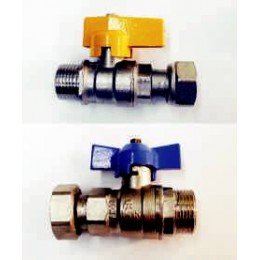 "GAS BALL VALVE, MALE/FEMALE SWIVEL, 1/2"" (15MM) WITH TEE HANDLE"