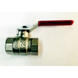 "BALL VALVE, FEMALE/FEMALE, 1/2"" (15MM), WITH RED LEVER HANDLE"