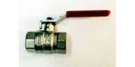 """BALL VALVE, FEMALE/FEMALE, 3/4"""" (20MM) WITH RED LEVER HANDLE"""