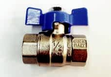 BALL VALVES, BRASS, FEMALE/FEMALE, WITH TEE HANDLE, BSP THREADS, MADE IN ITALY (6)