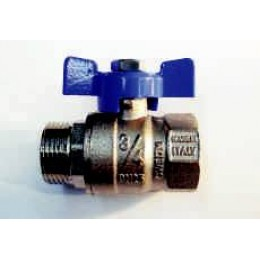 "BALL VALVE, MALE / FEMALE, 3/4"" (20MM), BLUE TEE HANDLE"