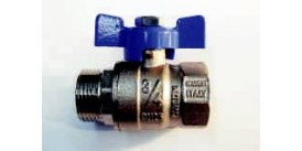 "BALL VALVE, MALE / FEMALE, 1"" (25MM), WITH BLUE TEE HANDLE"