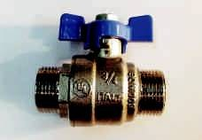 BALL VALVES, BRASS, MALE/MALE, WITH TEE HANDLE, BSP THREADS, MADE IN ITALY (6)