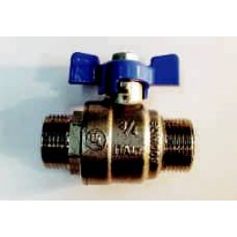"BALL VALVE, MALE/MALE, 1/2"" (15mm), BLUE TEE HANDLE"