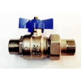 "BALL VALVE, MALE/MALE UNION, 1/2"" (15MM) WITH BLUE TEE HANDLE"