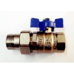 "BALL VALVE MALE/FEMALE UNION, 1/2"" (15MM), WITH BLUE TEE HANDLE"