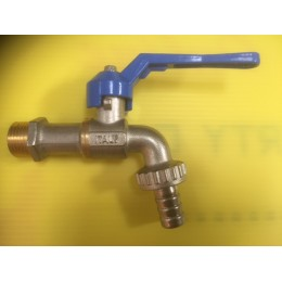 BIBCOCK, ANGLED BALL VALVE WITH HOSE UNION, 15MM, BLUE LEVER HANDLE