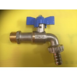 BIBCOCK, ANGLED BALL VALVE WITH HOSE UNION, 15MM, BLUE TEE HANDLE