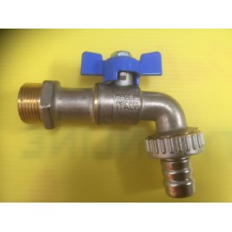 BIBCOCK, ANGLED BALL VALVE WITH HOSE UNION, 20MM, BLUE TEE HANDLE