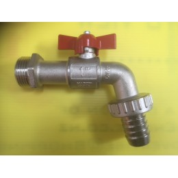BIBCOCK, ANGLED BALL VALVE WITH HOSE UNION, 25MM, RED TEE HANDLE