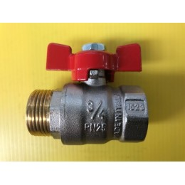 "BALL VALVE, MALE / FEMALE, 3/4"" (20MM), RED TEE HANDLE"