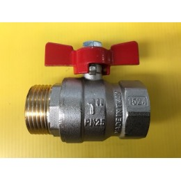 "BALL VALVE, MALE / FEMALE, 1"" (25MM), WITH RED TEE HANDLE"
