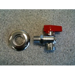 DISHWASHER TAP, MALE/MALE, RED, WITH CHROME COVER FLANGE