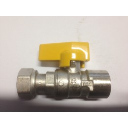 GAS BALL VALVE, FEMALE/FEMALE SWIVEL, WITH YELLOW TEE HANDLE