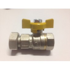 GAS BALL VALVES, BRASS, FEMALE/FEMALE WITH SWIVEL FEMALE FITTING ON ONE END, TEE HANDLE, MADE IN ITALY (4)