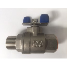 SS316 Ball Valve, 15mm, Male/Female, Tee Handle, 1000wog, BSPT Tapered Threads
