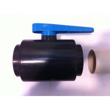 UPVC COMPAT BALL VALVE, SOCKET GLUE ENDS, BLUE HANDLE (1)