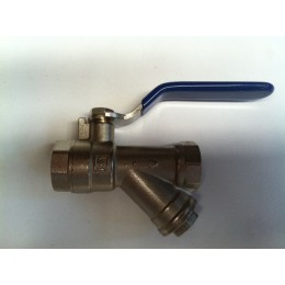 "BRASS Y STRAINER + BALL VALVE, 3/4"" (20mm), F/F, WITH STAINLESS STEEL LEVER HANDLE"